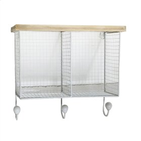 Wire & Wood Wall Shelf With 3hooks, White