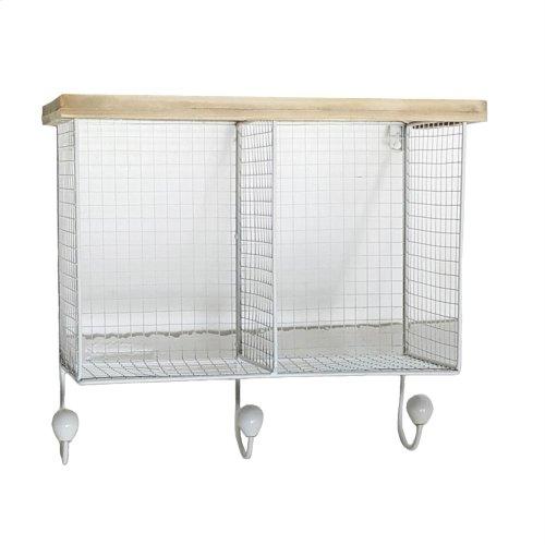 Wire & Wood Wall Shelf With 3hooks, White