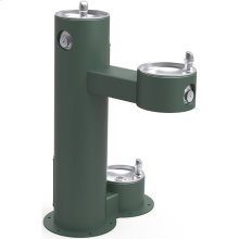 Elkay Outdoor Fountain Bi-Level Pedestal with Pet Station, Non-Filtered Non-Refrigerated, Freeze Resistant, Evergreen