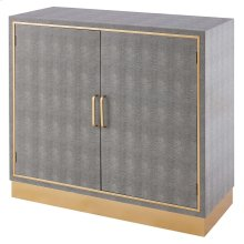 Edinburgh Faux Shagreen Cabinet 2 doors, Chronicle Gray/ Gold *NEW*