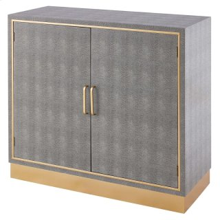 Edinburgh Faux Shagreen Cabinet 2 doors, Chronicle Gray/ Gold *NEW*