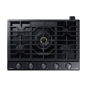 "Samsung Appliances36"" Chef Collection Gas Cooktop with 22K BTU Dual Power Burner in Matte Black Stainless Steel"