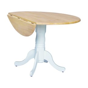 Round Dropleaf Pedestal Table in White & Natural