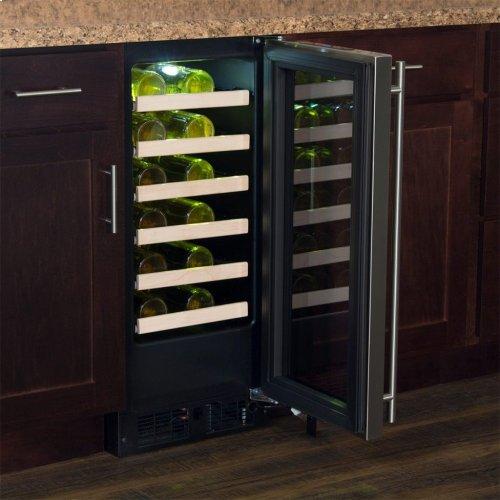 "Marvel 15"" High Efficiency Single Zone Wine Refrigerator - Stainless Frame, Glass Door - Right Hinge, Stainless Designer Handle"