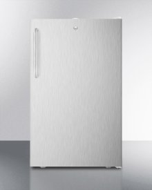 """ADA Compliant 20"""" Wide Built-in Refrigerator-freezer With A Lock, Stainless Steel Door, Towel Bar Handle and White Cabinet"""