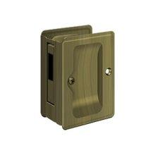 "HD Pocket Lock, Adjustable, 3 1/4""x 2 1/4"" Sliding Door Receiver - Antique Brass"
