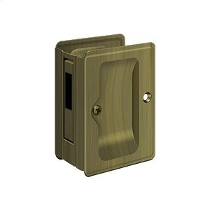 "HD Pocket Lock, Adjustable, 3 1/4""x 2 1/4"" Sliding Door Receiver - Antique Brass"