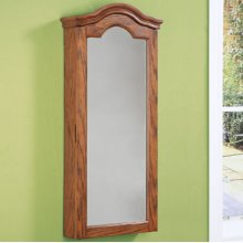 """Antique Oak"" Wall Jewelry Storage Mirror"