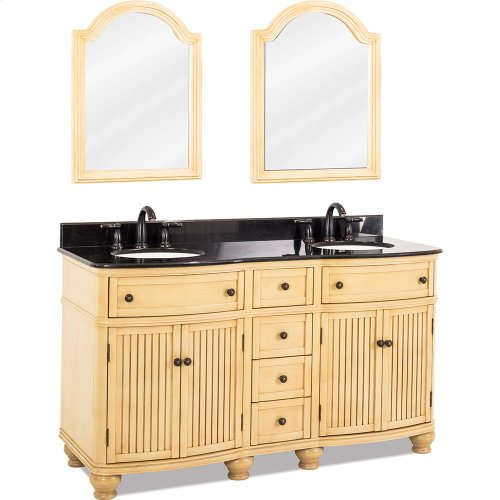 "60-1/2"" double vanity with antique crackled Buttercream finish, simple bead board doors, and curved shape with preassembled top and bowl."