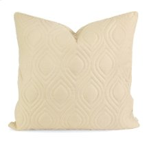 IK Kavita Beige Linen Quilted Pillow w/ Down Fill
