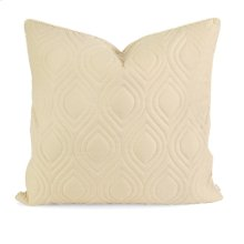 IK Kavita Beige Linen Quilted Pillow w/ Down Fill