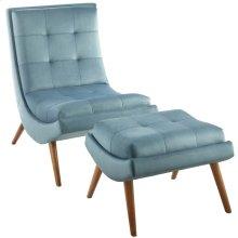 Ramp Upholstered Performance Velvet Lounge Chair and Ottoman Set in Light Blue