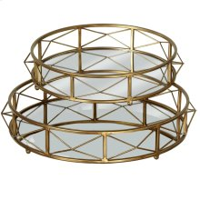 Gold Round Mirror Tray set/2.