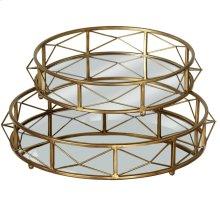 Gold Round Mirror Tray set/2.