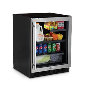 "24"" Low Profile Beverage Refrigerator - Stainless Frame, Glass Door With Lock - Left Hinge"