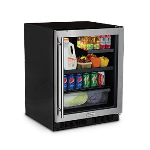 "Marvel24"" Low Profile Beverage Refrigerator - Stainless Frame, Glass Door With Lock - Left Hinge"