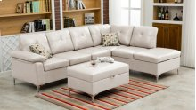 Macy White Sectional with Storage Ottoman