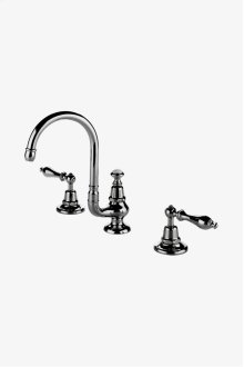 Etoile Gooseneck Three Hole Deck Mounted Lavatory Faucet with Metal Lever Handles STYLE: ETLS62
