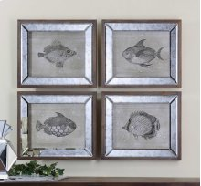 Mirrored Fish Framed Prints, S/4