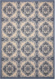 Caribbean Crb10 Ivory Blue Rectangle Rug 5'3'' X 7'5''