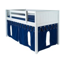 Under Bed Castle Curtain with Flags : Blue/White Castle