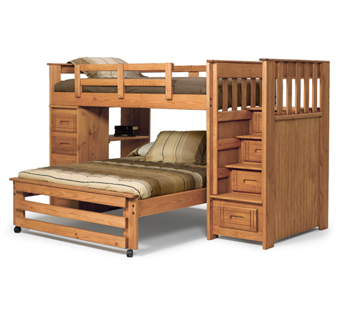 Twin/Full Stairway Bunk With 4 Drawer Tower