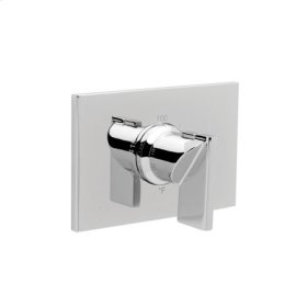 Uncoated Polished Brass - Living Rectangular Thermostatic Trim Plate with Handle