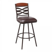 """Arden Contemporary 30"""" Bar Height Barstool in Auburn Bay Finish with Brown Faux Leather and Sedona Wood Finish Back"""
