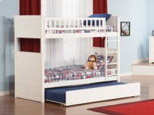 Nantucket Bunk Bed Twin over Twin with Urban Trundle Bed in White