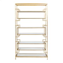 """8 Shelf Gold Leaf Etagere With Glass Shelves. Top, Bottom and Inset Shelves Are 9""""h, Two Central Shelves Are 11.5""""H."""