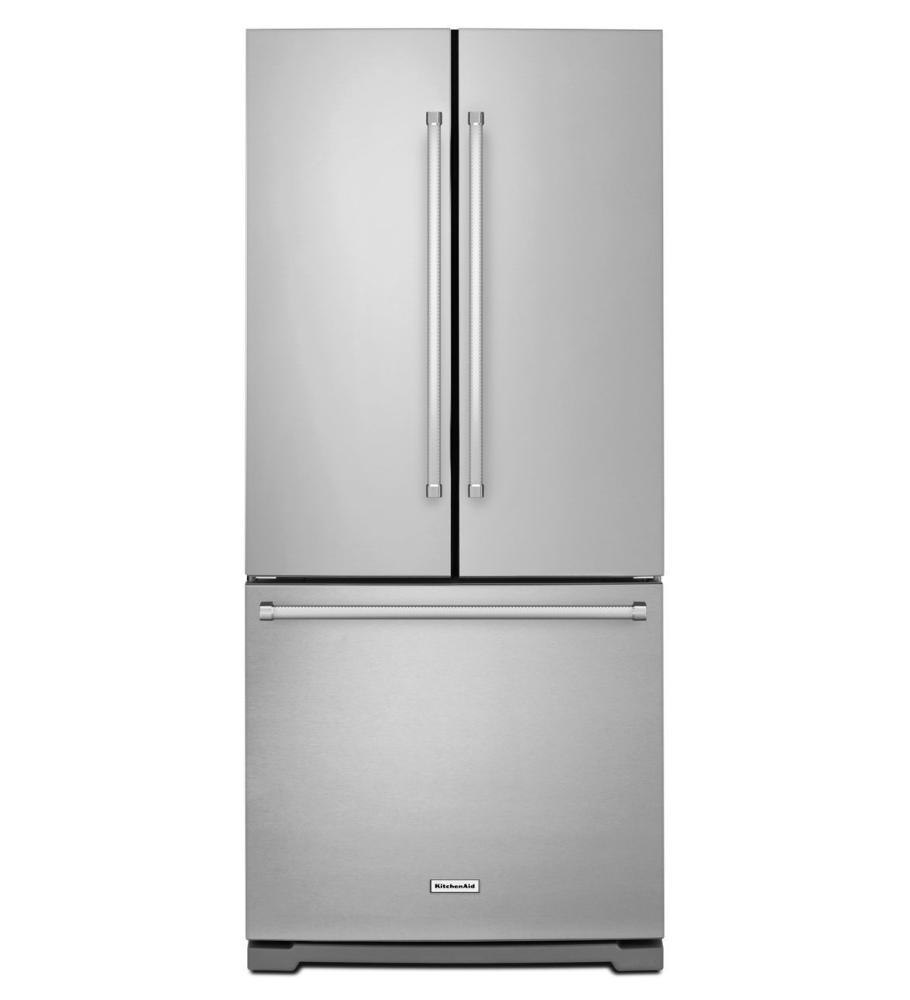 KitchenAid®20 cu. Ft. 30-Inch Width Standard Depth French Door Refrigerator with Interior Dispense - Stainless Steel