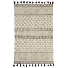 Black & White Block Print 4'x6' Rug with Tassels (Each One Will Vary).