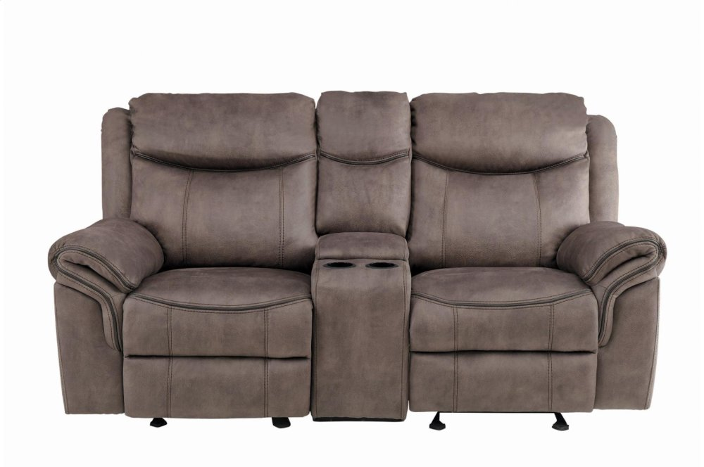 Double Reclining Sofa With Center Drop Down Cup Holders, Receptacles And  Hidden Drawer
