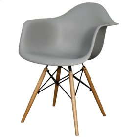 Carl Molded PP Arm Chair Maple Dowel Legs, Gray
