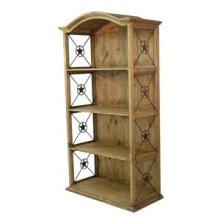 Honey finish Pine Double Bookcase with Iron Stars