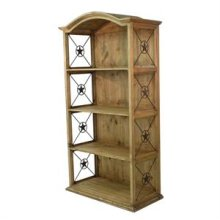 Honey finish Pine Double Bookcase with Iron Stars