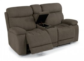Danika Fabric Power Reclining Loveseat with Console