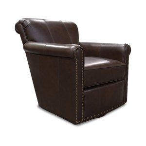 England Furniture Leather Lillian Swivel Chair With Nails 3c69aln