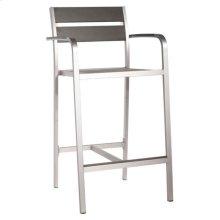 Megapolis Bar Arm Chair Brush Aluminum