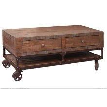 Cocktail Table w/4 Drawers & Wheels - KD System
