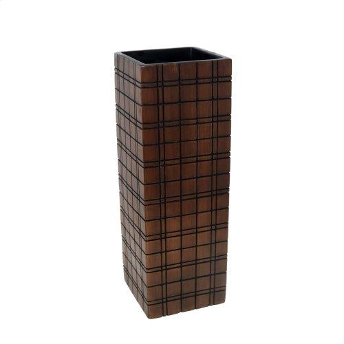 """Dark Brown Grid Vase 16"""""""
