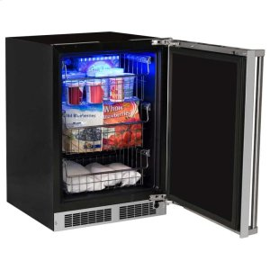 """Marvel24"""" Professional Freezer - Solid Stainless Steel Door with Lock - Right Hinge, Professional Handle"""