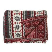 Grey, Red & Cream Snowflake Knit Throw.