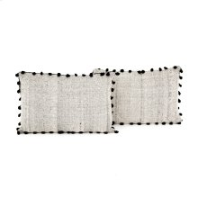 Lumbar Style Black Fringe Trim Pillow, Set of 2