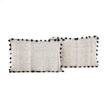 "16x24"" Size Black Fringe Trim Pillow, Set of 2"