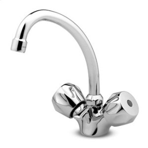 """Single hole basin mixer """"medium type"""" with swivel spout Z9206P aerator 1 1/4"""" pop-up waste flexible pipes."""