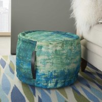 "Outdoor Pillows As130 Blue/green 20"" X 20"" X 12"" Pouf Product Image"