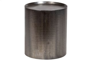 Rotonde Hammered Metal End Table - Nickel Finish, NTC-3720