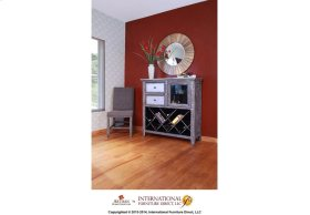 Bookcase/Wine Rack, 2 drawers, glass holder behind door - Zinc on Top & Drawer Fronts