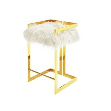 Linear Bar Stool With Brass Base and White Mongolian Fur Cushion